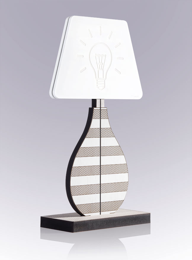 VES Fine Objects lampada design moderno in Krion K-Life e base in legno inciso made in italy